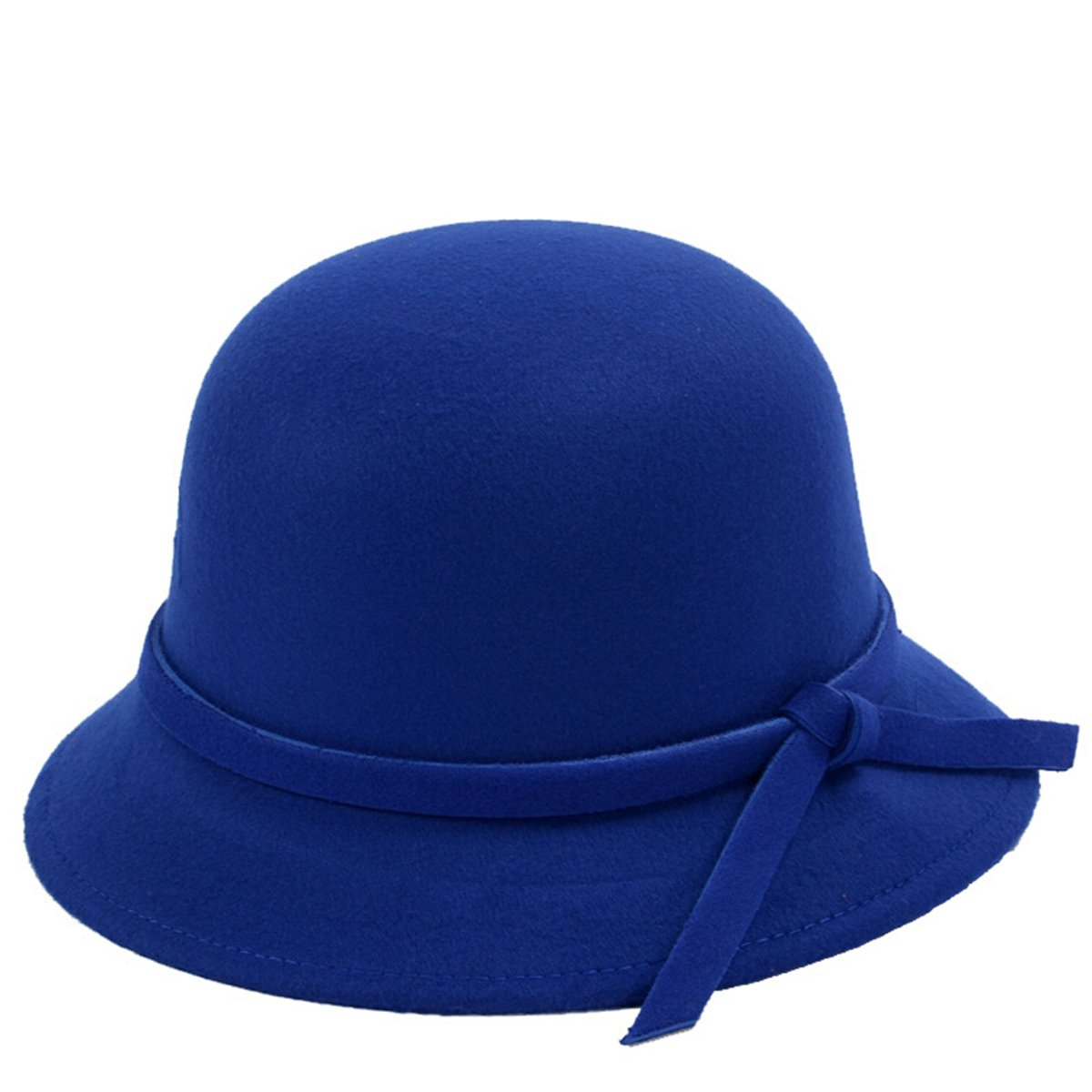 Butterme Frauen Dame Vintage Wool Round Fedora Bogen Cloche Derby Hüte Eimer Hüte (Schwarz-Bowen knot) ZUMUii ZUMU00002319