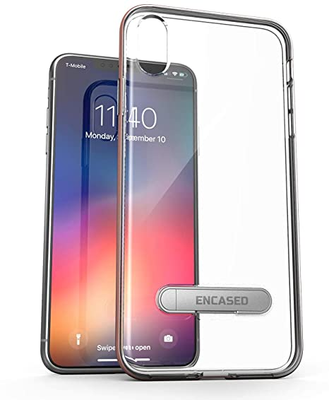 online retailer 96270 156a5 Encased Clear Case for iPhone Xs MAX (2018) - Ultra Slim Bumper Cover  w/Kickstand (Rose Gold)