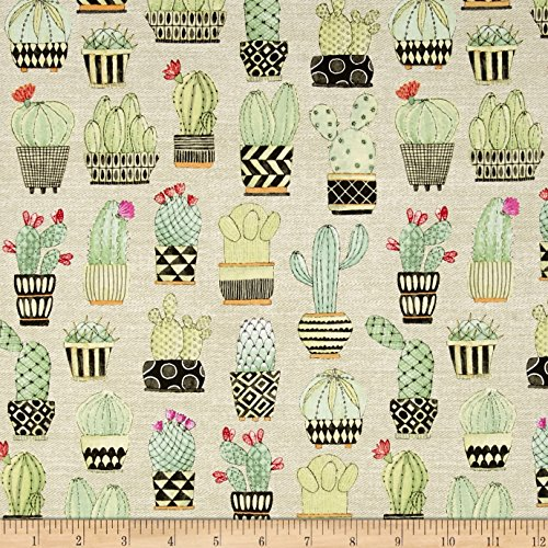 Michael Miller 0477782 Lovely Llamas Cactus Hoedown Tan Fabric by The Yard