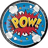 Creative Converting 96 Count Dessert/Small Paper Plates, Superhero Slogans