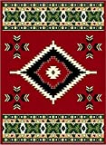 Red 2' X 8 Area Rug Runner Southwestern Design Apache Native American