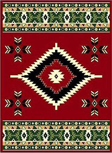 Red 2' X 8 Area Rug Runner Southwestern Design Apache Native American