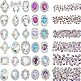 Bememo 2000 Pieces 3D Crystal AB Color Flat Back Rhinestones Nail Art DIY Crafts Gemstones with 30 Nail Art Metal Gem Stones, Total 2030 Pieces