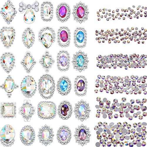 Bememo 2000 Pieces 3D Crystal AB Color Flat Back Rhinestones Nail Art DIY Crafts Gemstones with 30 Nail Art Metal Gem Stones, Total 2030 Pieces (Style C)