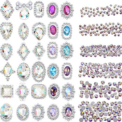 Bememo 2000 Pieces 3D Crystal AB Color Flat Back Rhinestones Nail Art DIY Crafts Gemstones with 30 Nail Art Metal Gem Stones, Total 2030 Pieces