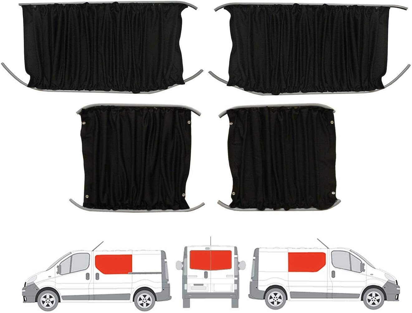 Negro de furgoneta cortinas Kit para la mano izquierda, mano derecha panel lateral de la puerta deslizante puertas traseras y: Amazon.es: Coche y moto