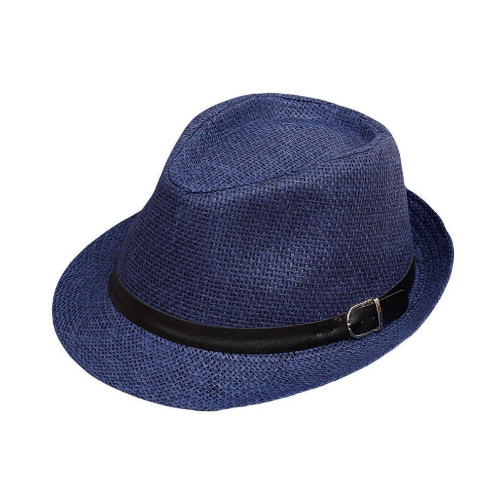 Fedora Hut für Damen und Herren Weben Panama Sonnenhut mit Sonnenschutz breite Krempe Einstellbar Band Faltbarer Strohhut Kappe Trilby Gangster Hut Lonshell