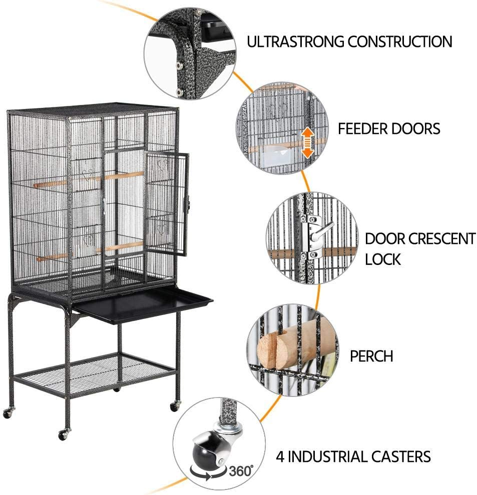 Topeakmart 53.7 Mid-Sized Quaker Parrot Conure Parakeet Lovebird Budgie Finch Canary Bird Cage Small Animal Cage