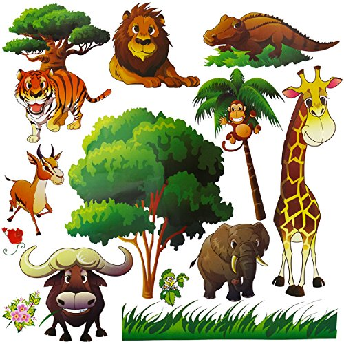 Wild Safari Animal Wall Stickers for Nursery Playroom | Jungle Theme Peel & Stick Lion Giraffe Colorful Kids Wall Decal by Dekosh
