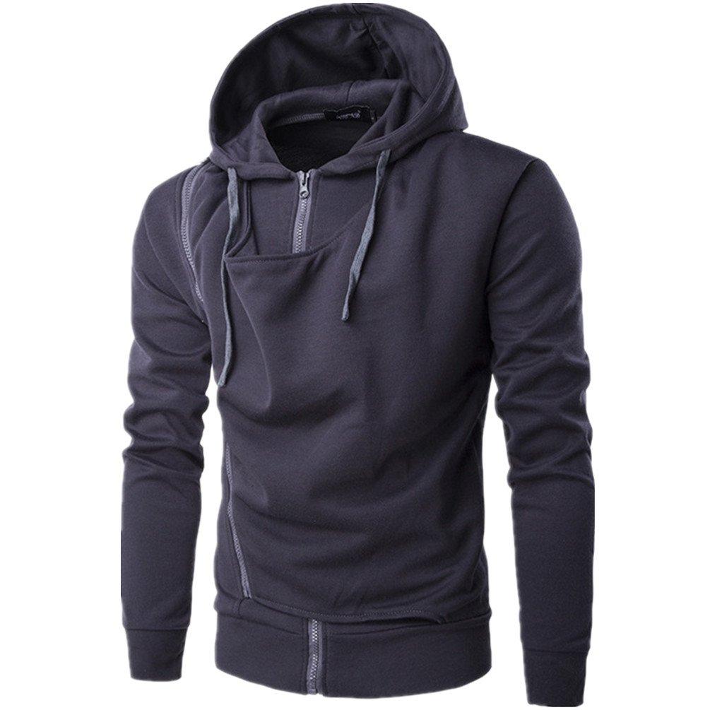 Joyi Men Winter Autumn Double Zipper Long Sleeves Sports Hoodies Jacket Coat
