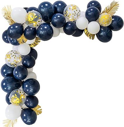 Latex Party Balloon 60Pcs Navy Blue Pearl White Rose Gold confetti Gold Metallic