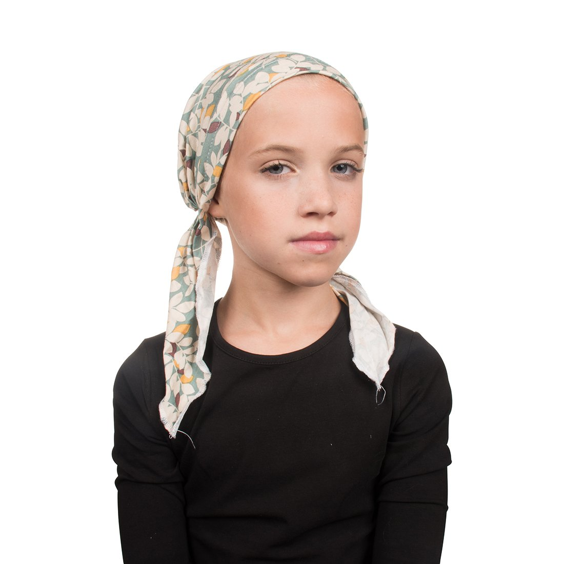 White Viscose Kids Chemo Cap Pretied for Girls Soft Cancer Scarf