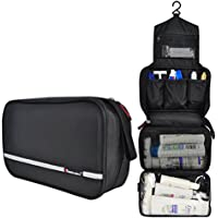 Samtour Travel Toiletry Bag Business Toiletries Bag for Men Shaving Kit Waterproof Hanging Travel Cosmetic Pouch Case for Women (Black)