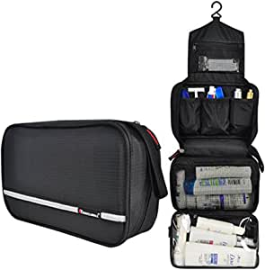 Samtour Travel Toiletry Bag Business Toiletries Bag for Men Shaving Kit Waterproof Hanging Travel Cosmetic Pouch Case for Women (Black)