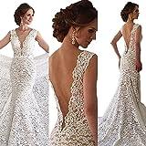 Pandorawedding Women's Sleeveless Lace Applique Low-Cut Sexy Wedding Dresses Halter Waist Mermaid Tailing Delicate Bridal Dresses Ivory,8