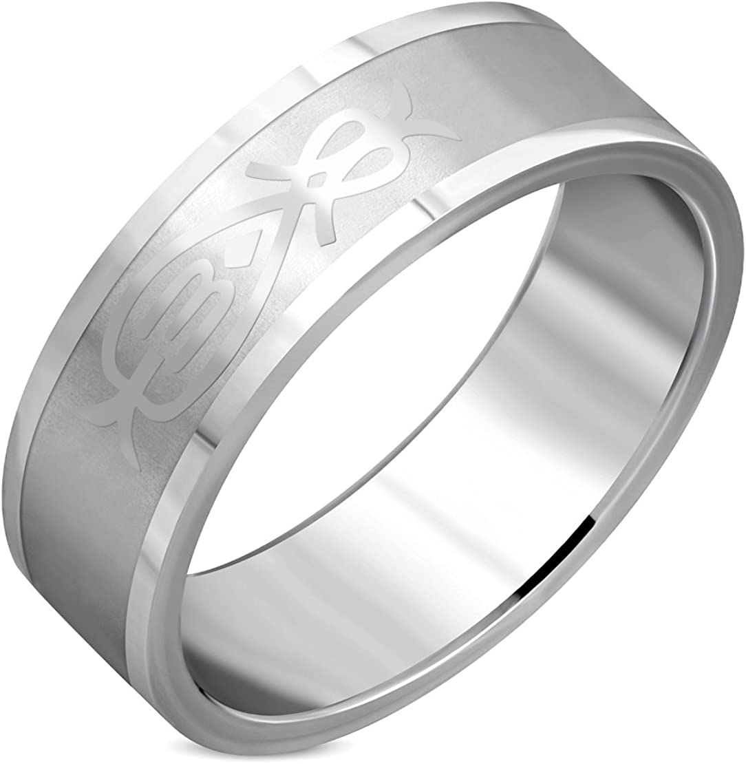 Stainless Steel Matte Finished Geometric Flat Band Ring