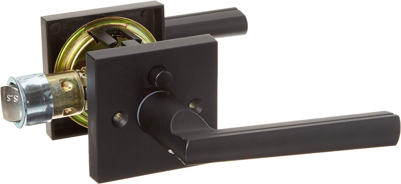 Kwikset 155MRLSQT-514 Montreal Square Privacy Door Lock Iron Black Finish