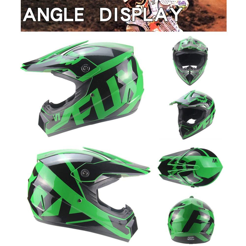 4 Seasons Cross-Country Motorrad Vollschutzhelm Road Racing Helm Set mit Brillenmaske und Handschuhen f/ür Erwachsene Unisex Onlyzer Kinder Herren Offroad Motocross Helm
