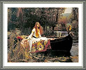 "Alonline Art - The Lady Of Shalott by Waterhouse | Silver framed picture printed on 100% cotton canvas, attached to the foam board | Ready to hang frame | 18""x15"" 