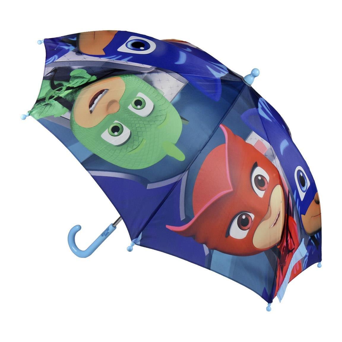 PJ Masks Pyjamasques 2400-365 Parapluie Ouverture Manuelle, Diamètre 70 Centimètres, Enfant, Multicolore, Yoyo, Bibou, Gluglu (Bleu)