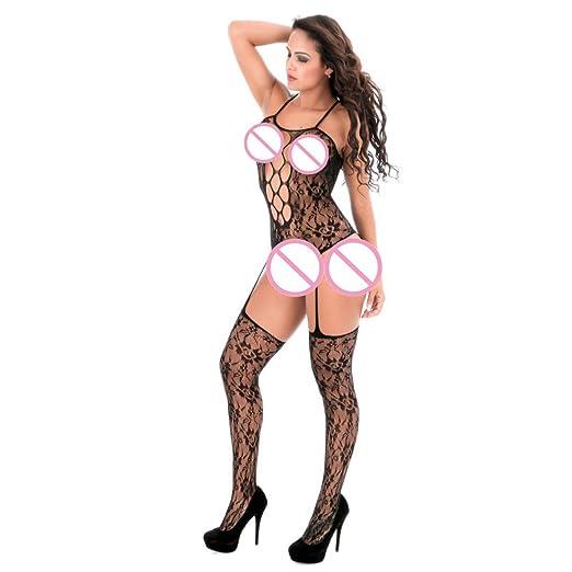 BaZhaHei-Productos para adultos, Mujeres Abrir entrepierna Bodystockings Perspectiva Ropa interior Pijama del Mono de amor siamés para mujer de Productos de ...