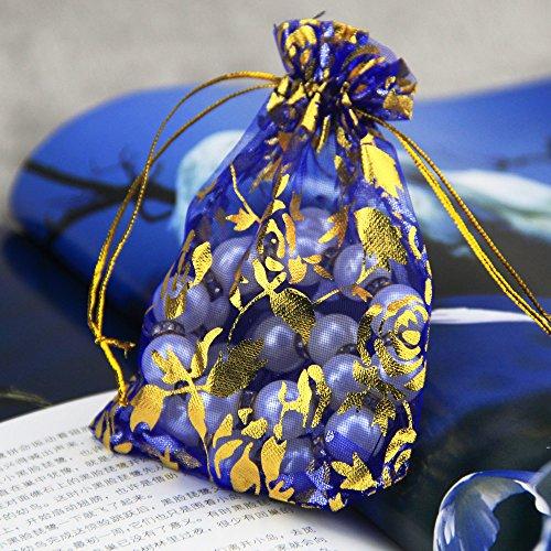 iLoving Small Wedding Party Christmas Organza Sheer Favor Gift Bags, 100Pcs Mini Blue Coralline Pattern Jewelry Pouches Wrap Organza Drawstring Bags 3x4 (Potpourri Gift Bundle)