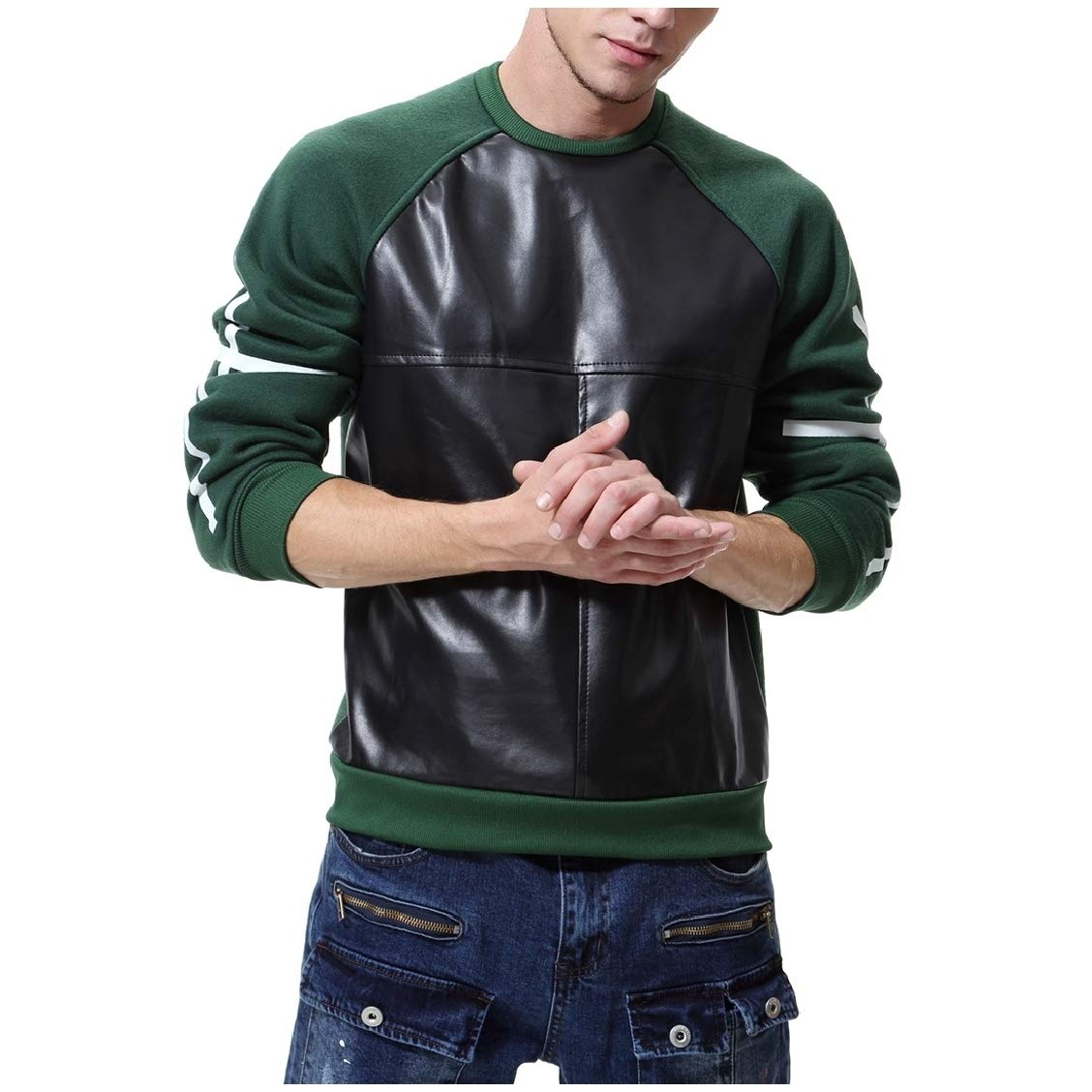 Fieer Mens Casual Patchwork Faux Leather PU Fashion O-Neck Pullover Sweatshirt