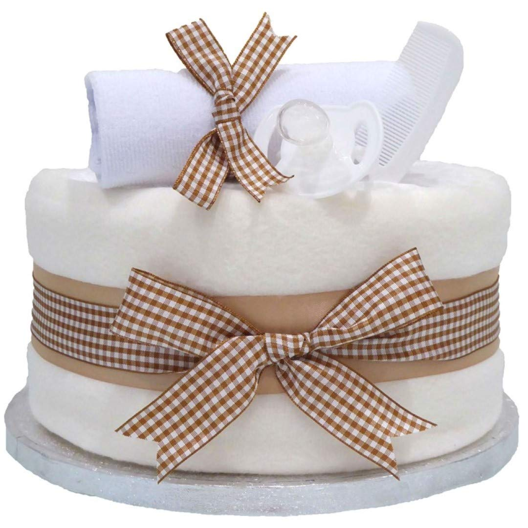 Blossom Beige Single Tier Unisex Nappy Cake Boy Girl ⼁ Baby Shower Gifts Unisex Ideas ⼁ Baby Shower Hamper Present ⼁ FAST DISPATCH Pitter Patter Baby Gifts