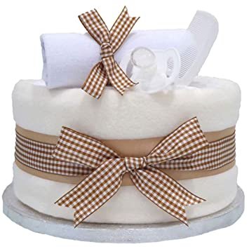 Blossom Beige Single Tier Unisex Nappy Cake Boy Girl Baby Shower