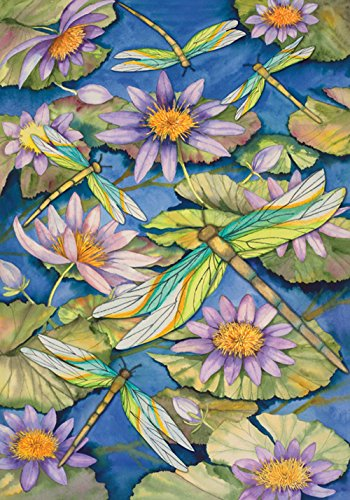 Lilies Dragonfly Water - Toland Home Garden Waterlilies and Dragonflies 28 x 40 Inch Decorative Pond Flower Dragonfly House Flag