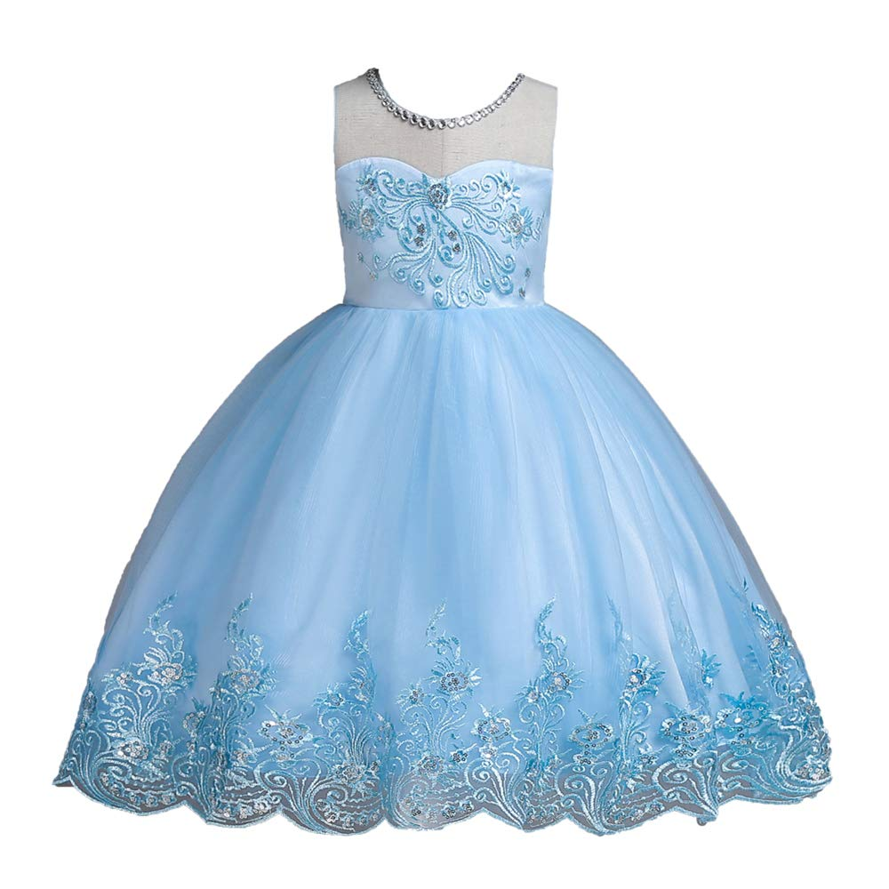 Girls Embroidery Princess Dress Sleeveless Tutu Tulle lace Birthday Party Dress Super frist