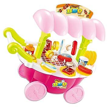 D DOLITY Carrito de Helados en Miniatura Juego de Parrilla de Pretensión Rosa Juguete Imaginativo para Niños: Amazon.es: Juguetes y juegos