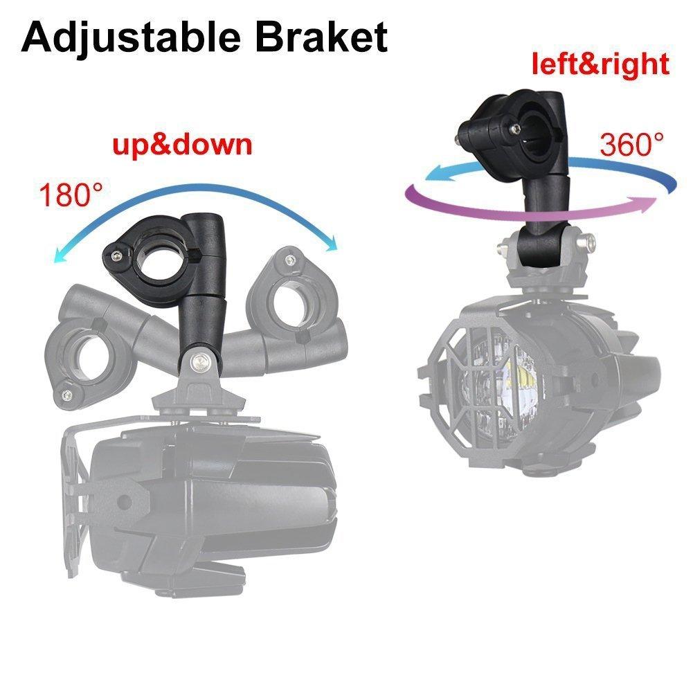1 paio) Supporto per Luce Ausiliaria del Motociclo 22 mm-26,5 mm Diametro Del paraurti