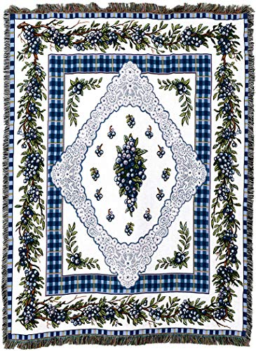 (Pure Country Weavers - Blueberry Lace Woven Tapestry Throw Blanket with Fringe Cotton USA 72x54)