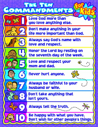 Carson-Dellosa Christian The Ten Commandments for Kids Chart (6359)