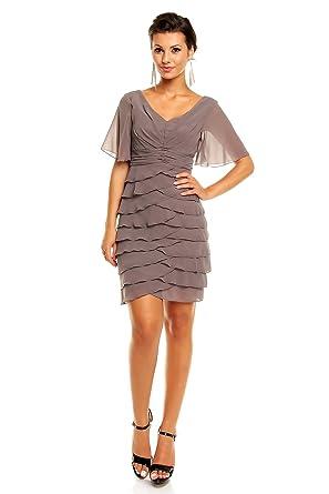 Chiffon Kleid im Stufen-Look mit kurzen Ärmeln, Cocktailkleid ...