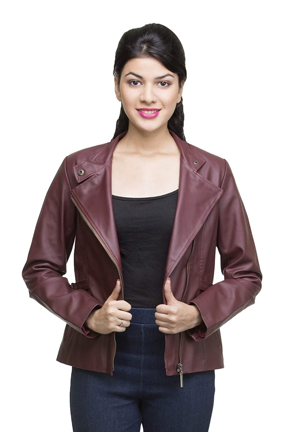 abddf190b7d Lambency Women Full Sleeve Faux Leather Jacket  Amazon.in  Clothing    Accessories
