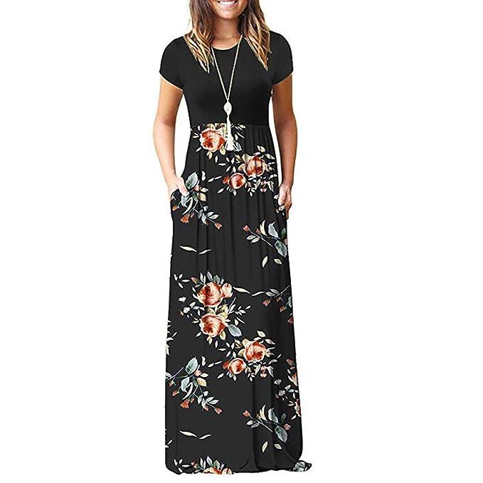 3cddfad981 Ulanda Elegant Women's Maxi Dress Floral Printed Autumn Long Sleeves Casual  Tunic Long Maxi Dress …