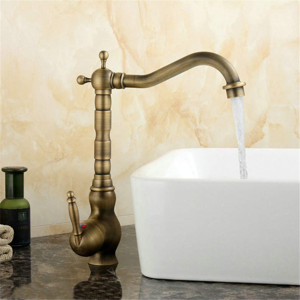 Faucet Kitchen Faucets 360 Swivel Antique Brass Porcelain Mixer Tap Bathroom Basin Mixer Hot Cold Tap Antique Faucet,H