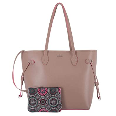 3311768eb Lodis Bliss Leather Shoulder Tote Bag with Wristlet, 2-Piece Set (Beige)