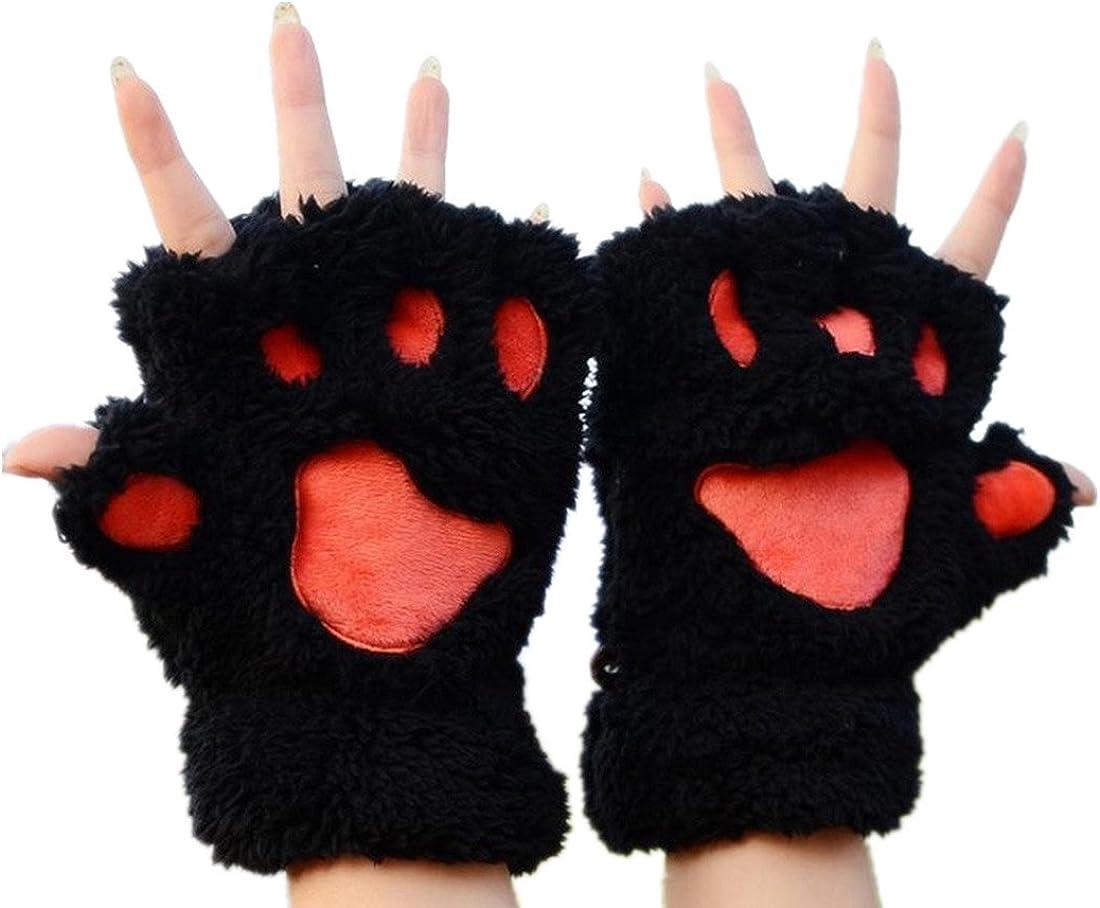 MizHome Cat Bear Plush Claw Paw Mitten Soft Winter Gloves Costume