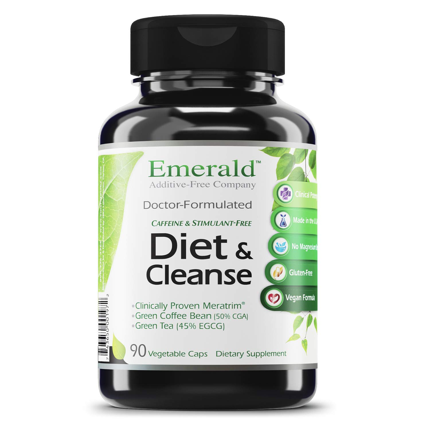 Diet & Cleanse - with Meratrim®, Konjac Root, Green Coffee Bean & Garcinia Cambogia - Weight Loss Support, Helps Cleanse/Detoxify the Body - Emerald Labs (Rainforest) - 90 Vegetable Capsules