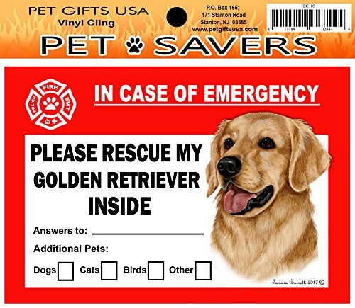 In Case of Emergency Home Window Pet Savers Rescue Cling Sticker, Golden Retriever