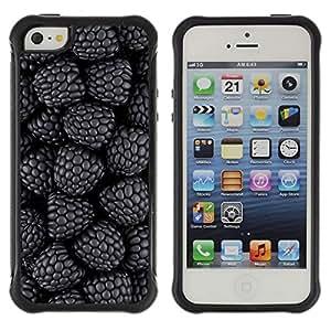 Híbridos estuche rígido plástico de protección con soporte para el Apple iPhone 5 / 5S - blackberry forest garden fresh berries