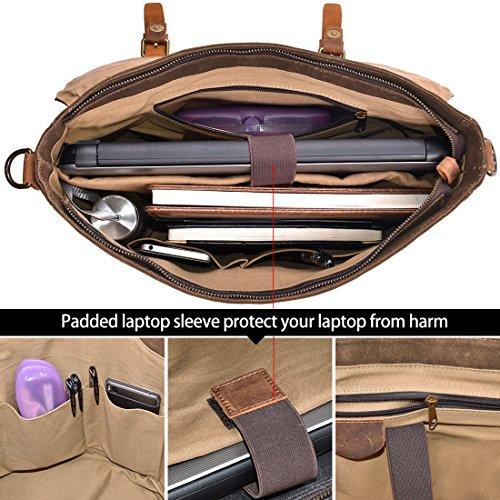 NEWHEY Mens Messenger Bag Waterproof Canvas Leather Computer Laptop Bag  15.6 Inch Briefcase Case Vintage Retro 88080a10a7941