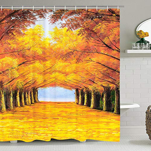 BLEUM CADE Autumn Forest Scene Shower Curtain Autumn Fall with Maple Leaves Trees Shower Curtain Painting of Forest Shower Curtain with ()