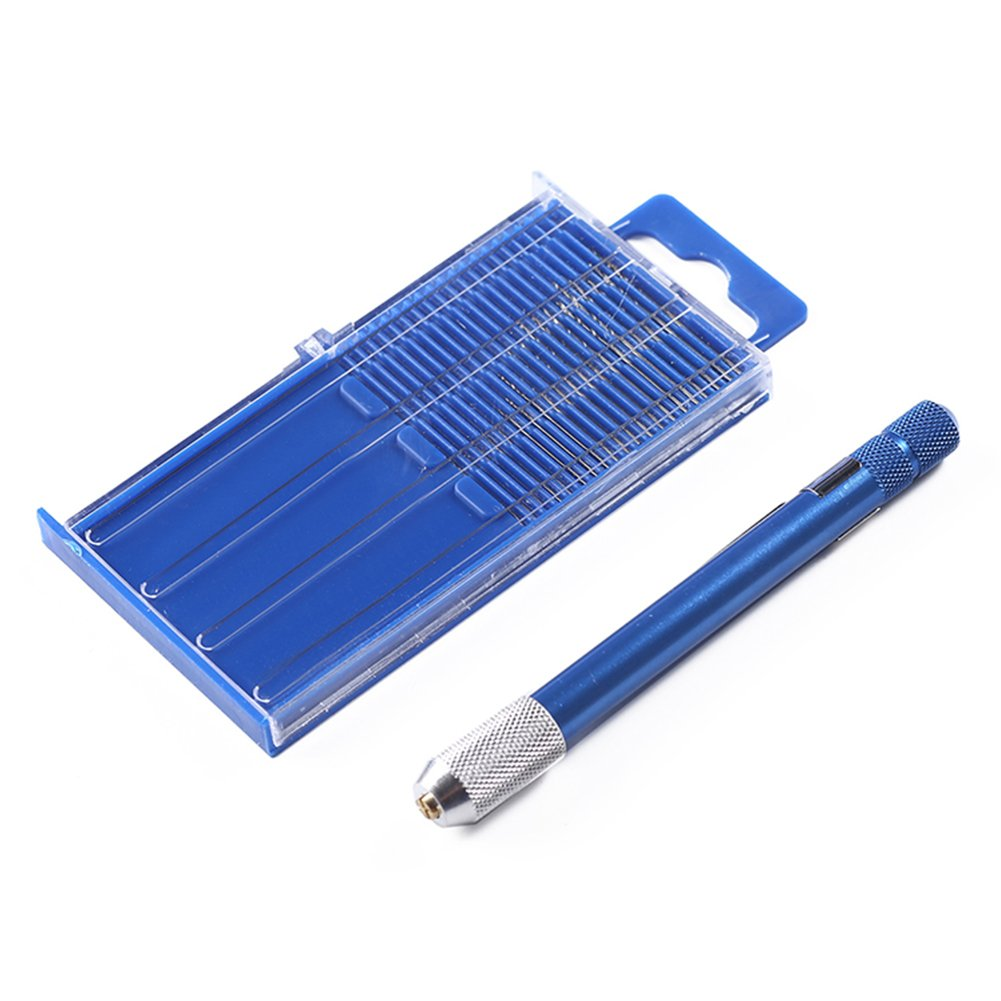 Azul Taladro de mano Pr/áctico Duradero S/úper Fino Joyer/ía Herramienta de perforaci/ón Pin Vise Portable Para Electr/ónica 0.3-1mm Mini Micro Modelo de Manualidades Con 20pcs Brocas