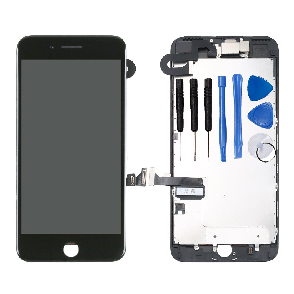 For iPhone 7 Plus Digitizer Screen Replacement Black - Ayake 5.5'' Full LCD Display Assembly with Front Facing Camera, Earpiece Speaker Pre Assembled and Repair Tool Kits
