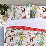 L&M 3 Piece Ivory Llamas Quilt Full Queen Set, Green Purple Alpacas Bedding Animal Mountains Sun Yellow Blue Peru Themed, Reversible Chevron Microfiber Polyester