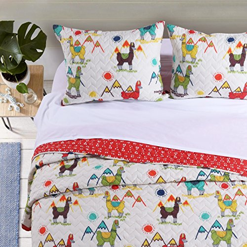 L&M 3 Piece White Multi Color Llama Themed Quilt King Set, Vibrant Mountain Sun Shine Alpaca Motif Bedding, Bright Fun Animal Sunny Outdoor Abstract Pattern, Blue Red Green Yellow Brown, Microfiber for sale